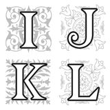 I, J, K, L alphabet letters with floral elements Stock Image
