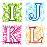 I, J, K, L, alphabet letters floral elements Royalty Free Stock Images