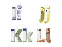 I; j; k; l letters. Are made of European banknotes Vector Illustration