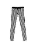 I jeans ansimano con le bande bianche nere di American National Standard, isolate sulla parte posteriore di bianco Immagine Stock