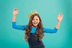 I am just the best. Kid wear golden crown symbol of princess. Girl cute baby wear crown. Become princess concept. Every. Girl dreaming to be princess. Lady royalty free stock photography