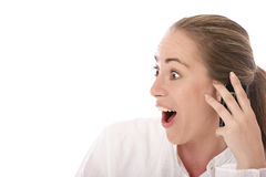 I just recieved the best news. Stock photo of a young woman using mobile phone stock photos