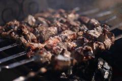 I kebab sono cucinati all'aperto Immagini Stock Libere da Diritti