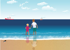 I keep my sister. Little boy holding the hand of his baby sister while standing in the sea royalty free illustration