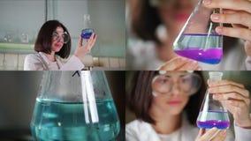 4 i 1 - kemiskt laboratorium en ung kvinna som rymmer en flaska arkivfilmer