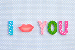 I Kiss you with lip shaped candy Stock Images