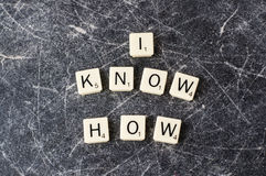 I Know how sign. In scrabble letters on a scratched chalkboard royalty free stock images