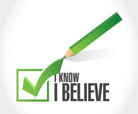 I Know I believe check mark sign Stock Images