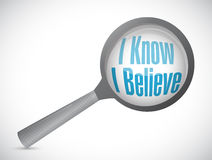 I Know I believe magnify glass sign Stock Images
