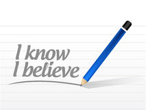 I know I believe message sign illustration. Design over a white background Royalty Free Stock Image