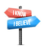 I know I believe signpost illustration design. Over a white background Stock Photo