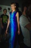 I kulisserna under modeshow i Madrid Arkivfoto