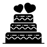 I lager bröllopstårtaheltäckandesymbol Bröllopstårtavektorillustration som isoleras på vit Tiered design för kakaskårastil stock illustrationer