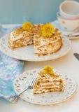 I lager honungkaka med chantilly kräm Arkivfoto