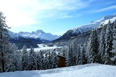 I laghi si avvicinano alla st Moritz Fotografia Stock Libera da Diritti