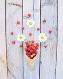 I lamponi freschi maturi e la camomilla bianca fiorisce in cono gelato su fondo di legno rustico Fotografia Stock Libera da Diritti