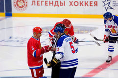 I. Larionov (8) and E. Tikkanen (5) talk Royalty Free Stock Image