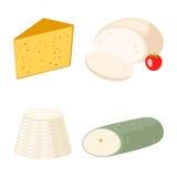 I latticini del formaggio fresco di varietà dell'icona italiana deliziosa della cena ed il camembert piani del latte collegano il Fotografie Stock