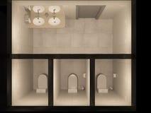 I lavandini, toilette, spazzola, supporto, distributore di carta igienica è sul pavimento nell'interno del bagno in tonalità di g Fotografia Stock Libera da Diritti