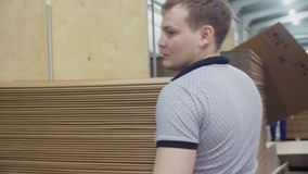 I lavoratori hanno messo le scatole di cartone piegate sul mucchio alla fabbrica archivi video