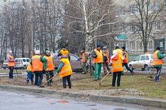 I lavoratori puliscono il prato inglese Immagine Stock