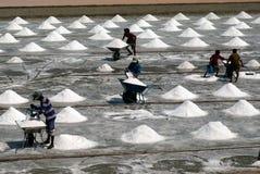I lavoratori stanno lavorando ad un'azienda agricola del sale in Tailandia Immagine Stock Libera da Diritti
