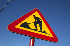 I lavori stradali firmano dentro la città urbana Fotografie Stock Libere da Diritti