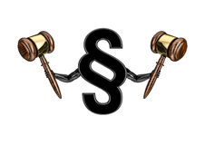 I am the law. 3D render of section sign holding judges gavels Stock Image