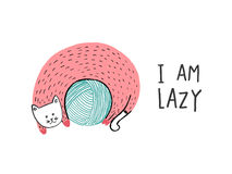 I Am Lazy, Cat on a ball of yarn royalty free illustration
