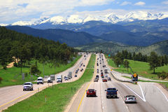 I-70 leading to Rocky Mountains Royalty Free Stock Images