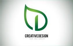 I Leaf Logo Letter Design with Green Leaf Outline Royalty Free Stock Image