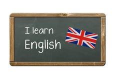 I learn English. Written on chalkboard Stock Photos