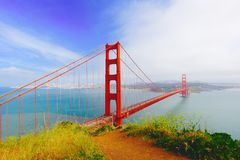 I Left My Heart in San Francisco. Looking back at the City By the Bay from the Golden Gate Bridge Stock Photo