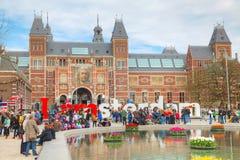 I lema de Amsterdam con la muchedumbre de turistas imagen de archivo libre de regalías