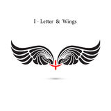 I-letter sign and angel wings.Monogram wing logo mockup.Classic Stock Image