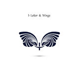 I-letter sign and angel wings.Monogram wing vector logo template Stock Image