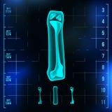 I Letter Vector. Capital Digit. Roentgen X-ray Font Light Sign. Medical Radiology Neon Scan Effect. Alphabet. 3D Blue. Light Digit With Bone. Medical, Pirate Stock Photos