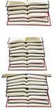 I libri aperti impilati hanno isolato il collage del fondo Immagine Stock Libera da Diritti