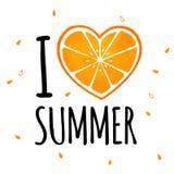 ` I Liebessommer ` Konzept mit Orange Lizenzfreies Stockbild