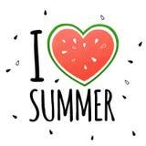 ` I Liebessommer ` Konzept mit Wassermelone Stockfotografie