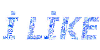 I like. Text i like which is composed of keywords on social media themes, blue Stock Photo