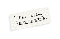 I like being sarcastic. Royalty Free Stock Photos