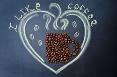 I like coffee with coffee beans Royalty Free Stock Images