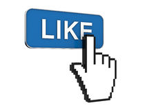 I like it. Hand cursor pointer 3d rendering and like button Royalty Free Stock Image