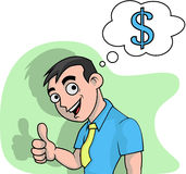 I Like Money. Vector image of man who like buisnsess and make some money Stock Photos