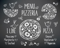 I like pizza. Pizzeria menu vector template. Menu for pizzeria. Pizza and funny vegetables. Hand drawn elements on a blackboard. Sketch, doodles for your design Royalty Free Stock Photography