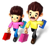 I like shopping for couples, 3D Family Character Royalty Free Stock Photo