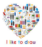 I like to draw. Heart of pencils and paintbrushes Royalty Free Stock Photos