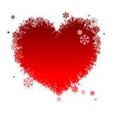 I like winter! Heart shape of snowflakes Royalty Free Stock Photos