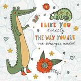I like you exactly the way you are no changes needed. Cute card with hand written quote and crocodile character Royalty Free Stock Image